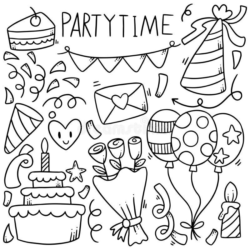 07-09-016 il buon compleanno di scarabocchio disegnato a mano del partito orna l'illustrazione di vettore del modello del fondo illustrazione vettoriale