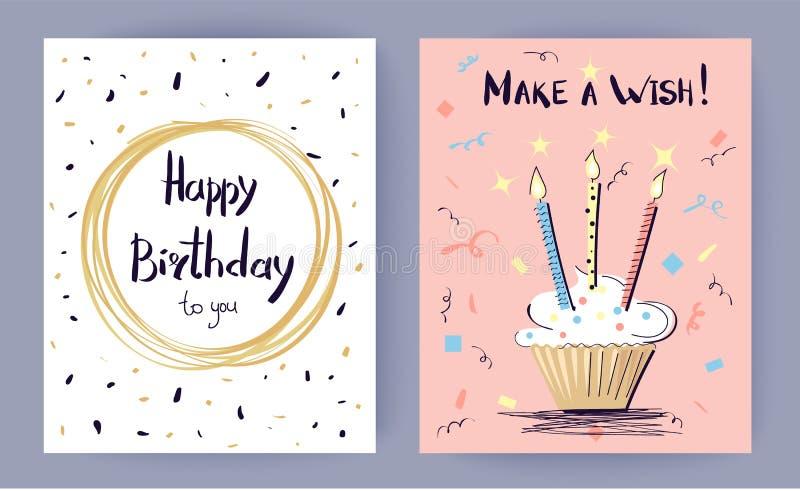 Il buon compleanno fa un'illustrazione di vettore di desiderio illustrazione di stock