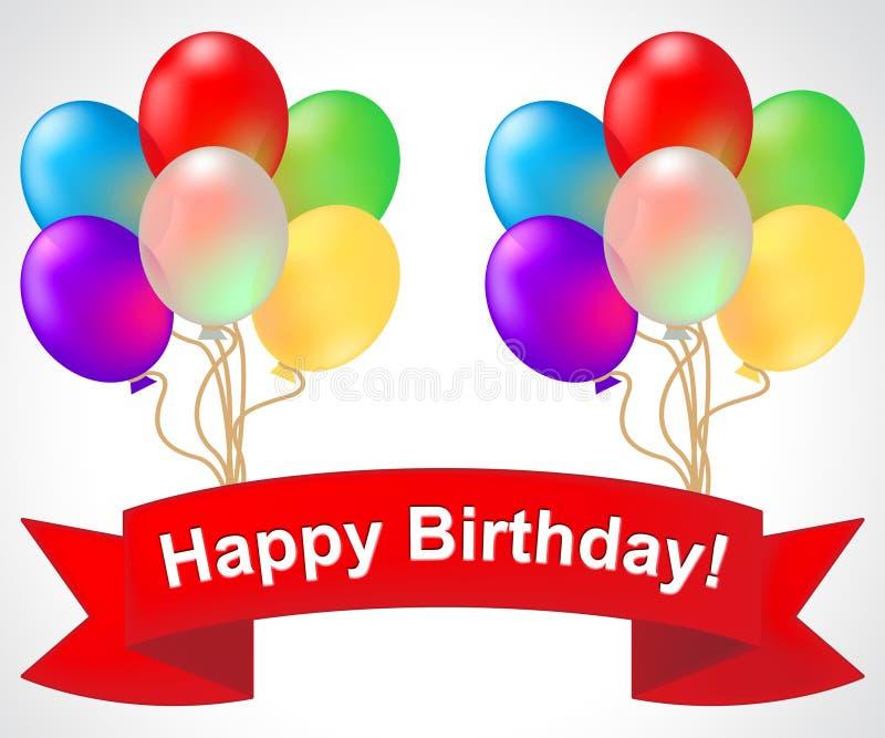 Il buon compleanno mostra accogliere l'illustrazione della celebrazione 3d royalty illustrazione gratis