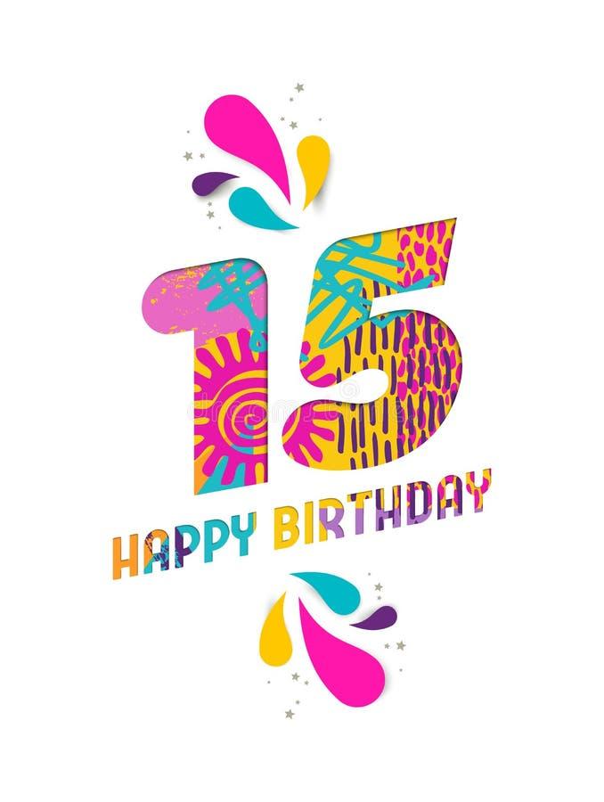Il buon compleanno una carta da 15 anni ha tagliato la cartolina d'auguri illustrazione vettoriale