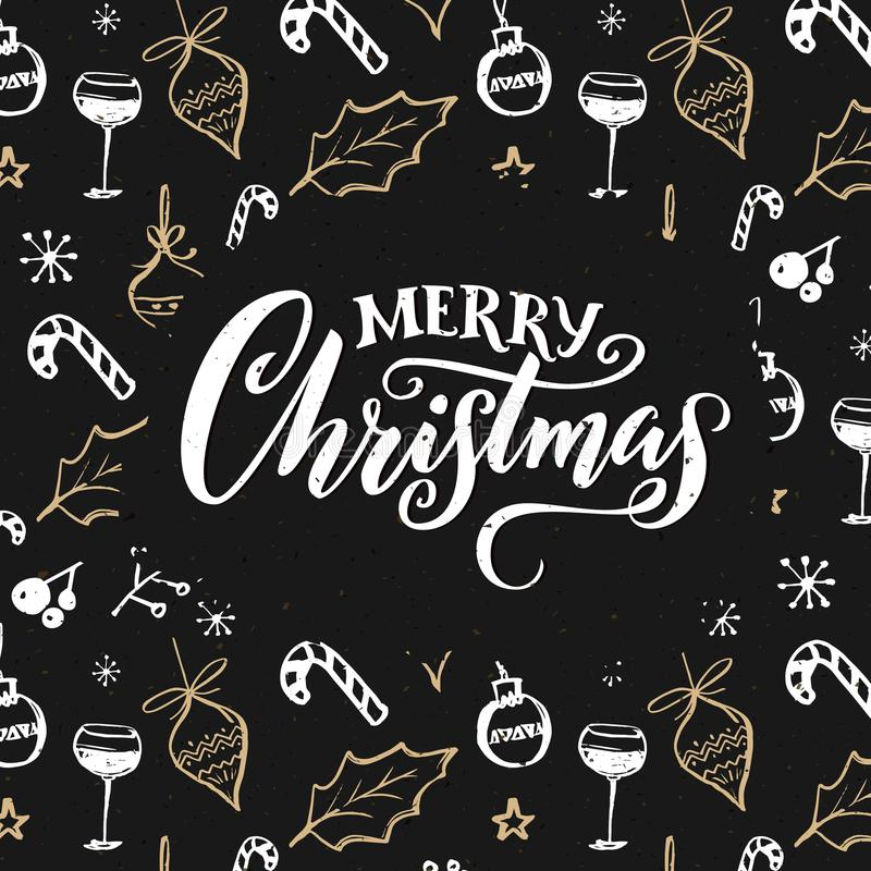 Il Buon Natale carda con le decorazioni Progettazione scura con gli scarabocchi dell'oro e di bianco illustrazione vettoriale
