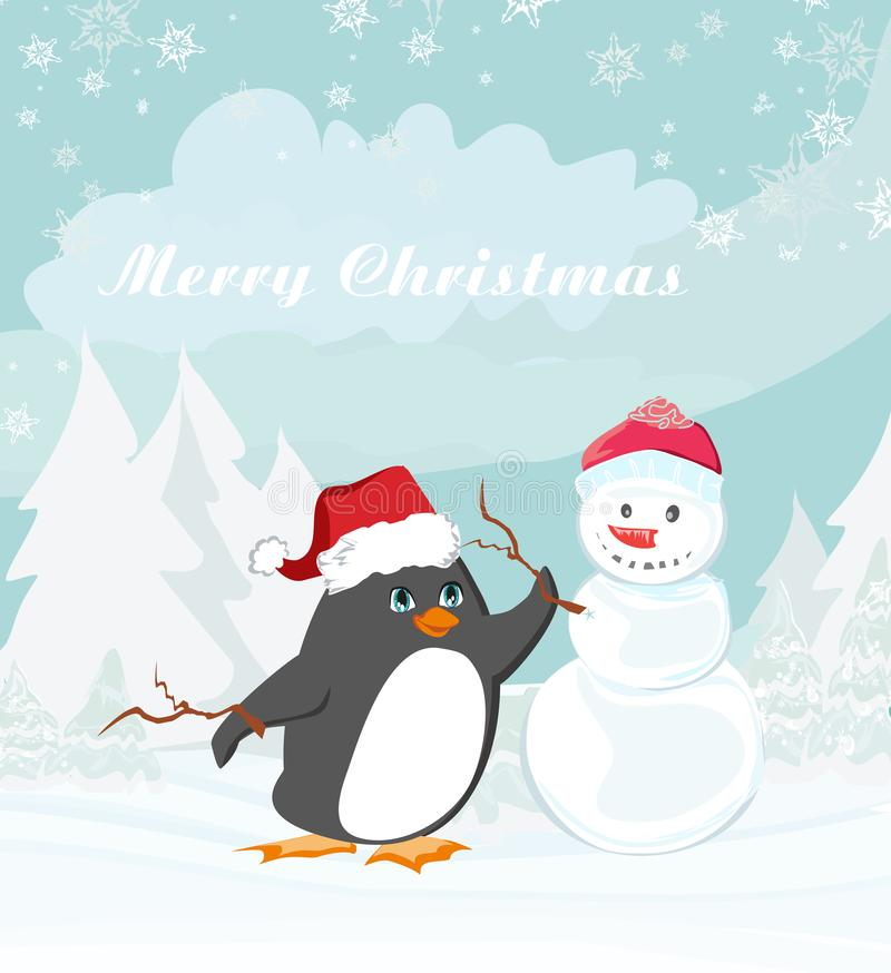 Il Buon Natale carda con il pinguino e un pupazzo di neve illustrazione di stock