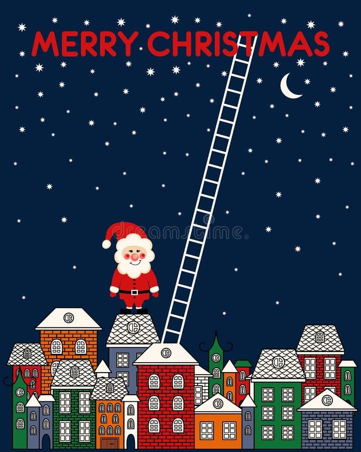 Il Buon Natale carda con Santa Claus, vecchia città, cielo notturno, scale su fondo blu illustrazione vettoriale