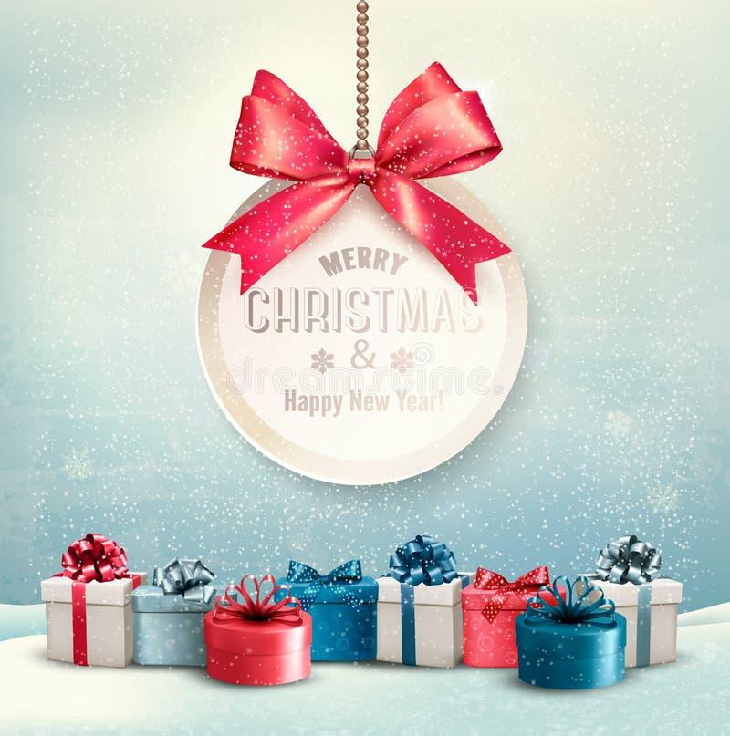 Il Buon Natale carda con un nastro ed i contenitori di regalo royalty illustrazione gratis
