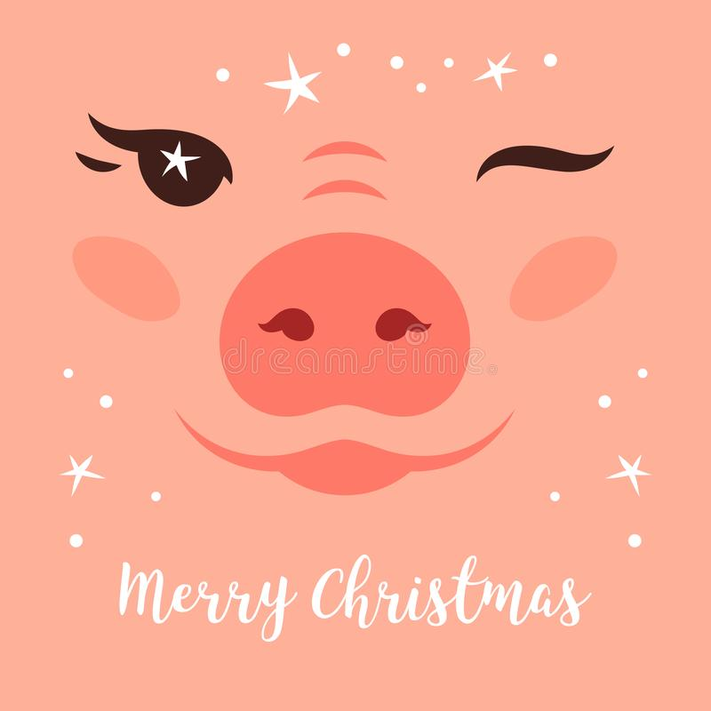 Il Buon Natale carda, maiale divertente di Natale Strizzatina d'occhio sveglia del maiale Stelle tremule di Natale Cartolina d'au royalty illustrazione gratis