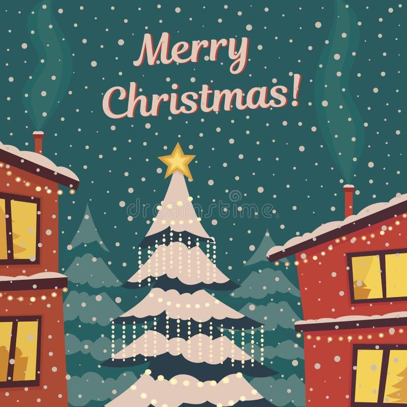 Il Buon Natale carda nei retro colori Città di inverno in neve Albero in neve leggermente di caduta Illustrazione piana di vettor royalty illustrazione gratis