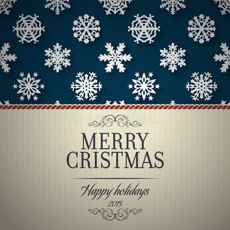 Il Buon Natale cardano ed il fondo della decorazione del fiocco di neve illustrazione di stock