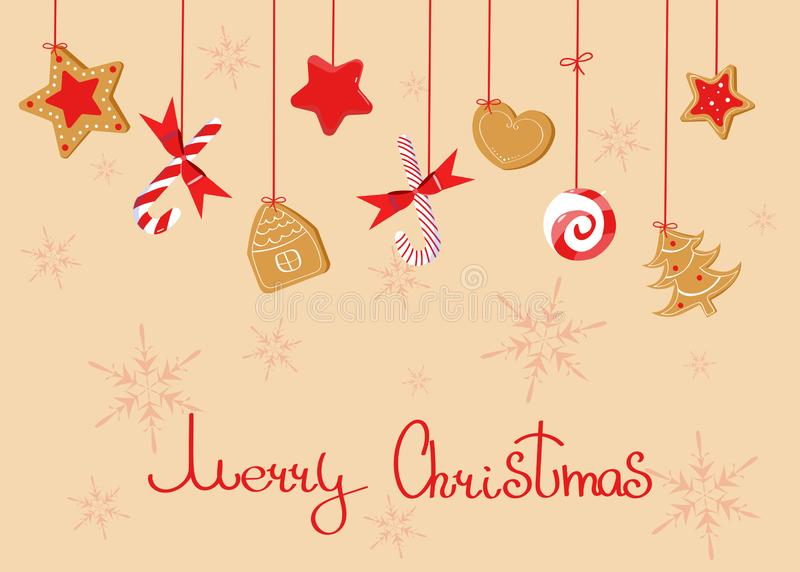 Il Buon Natale che accoglie con suda: lecca-lecca, biscotto dello zenzero, bastoncino di zucchero royalty illustrazione gratis