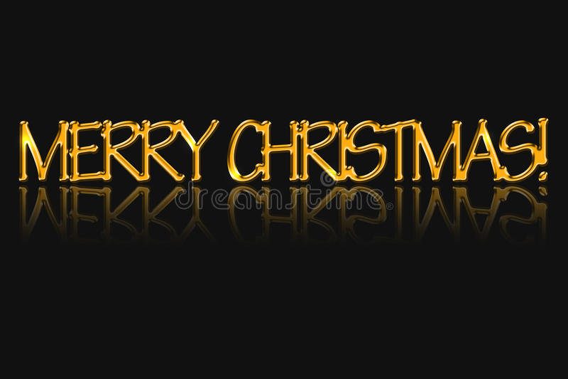Il Buon Natale dell'iscrizione, colore dorato fotografia stock