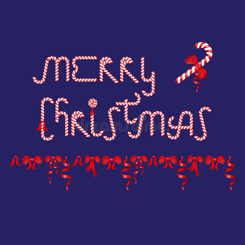 Il Buon Natale di parole ha consistito degli archi di rosso e del bastoncino di zucchero illustrazione di stock