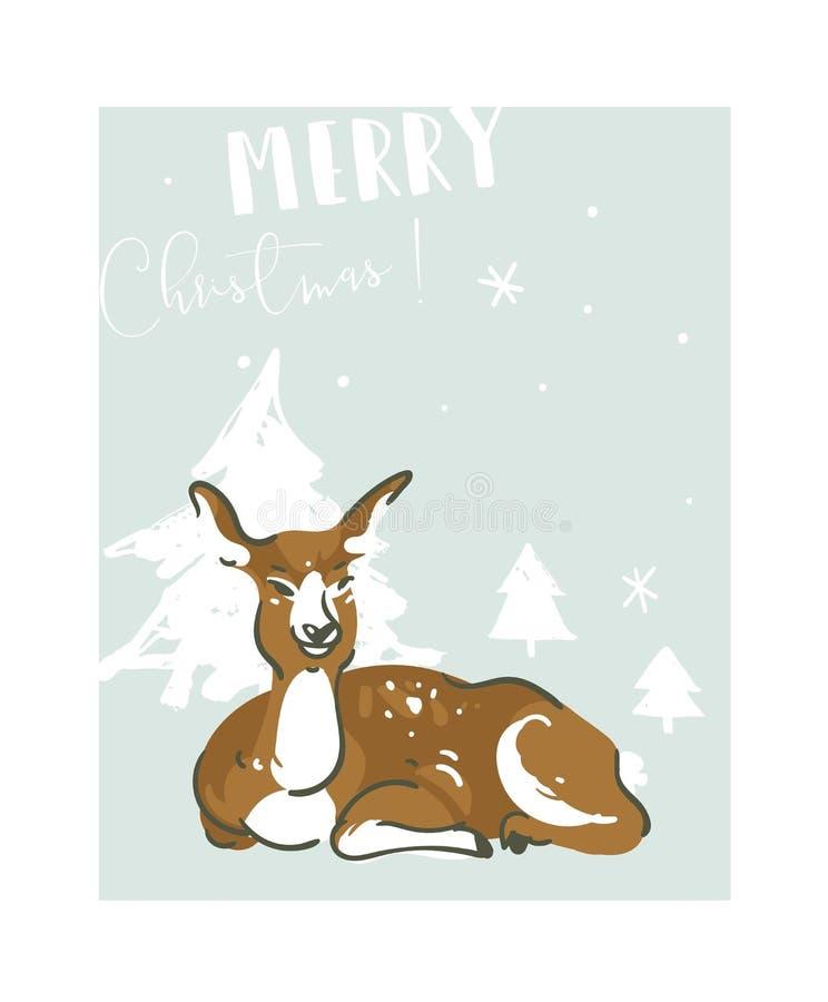 Il Buon Natale disegnato a mano di divertimento dell'estratto di vettore cronometra la cartolina d'auguri dell'illustrazione con  illustrazione di stock