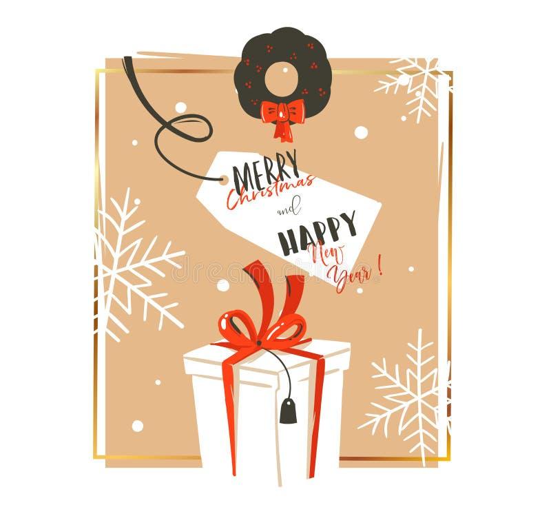 Il Buon Natale disegnato a mano di divertimento dell'estratto di vettore cronometra la retro cartolina d'auguri d'annata dell'ill illustrazione vettoriale
