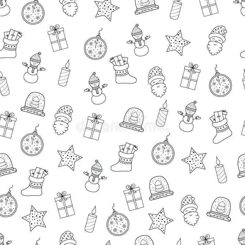 Il Buon Natale ed il buon anno disegnati a mano scarabocchiano il PA senza cuciture royalty illustrazione gratis