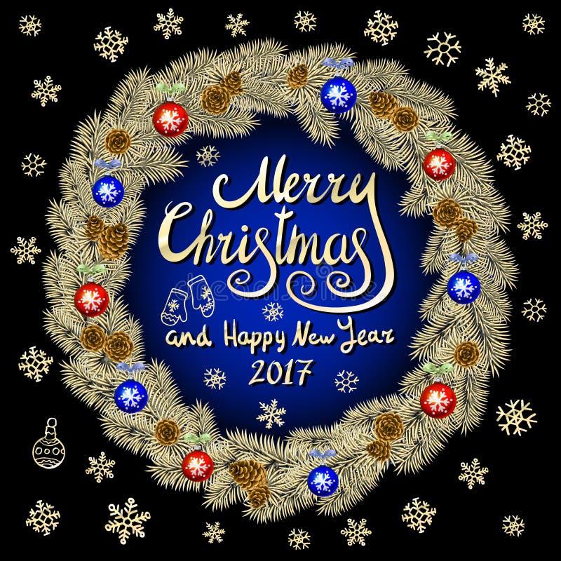 Il Buon Natale ed il blu nero d'annata del fondo del buon anno 2017 con la carta di tipografia con il Natale dell'oro si avvolgon illustrazione vettoriale