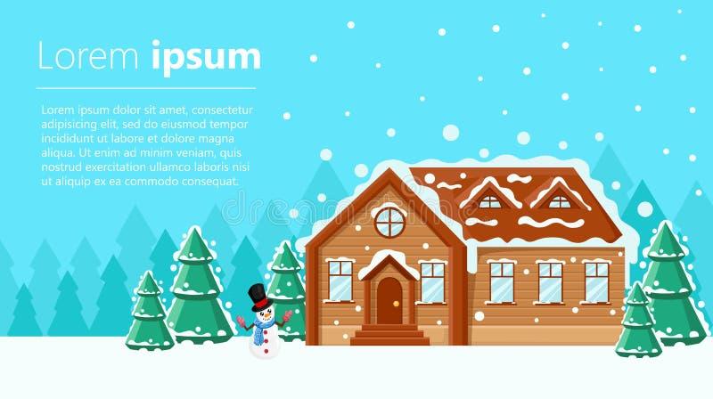 Il Buon Natale ed il fondo del buon anno con la città dell'inverno abbelliscono con la casa ed alberi e decorazioni piani Natale  illustrazione vettoriale