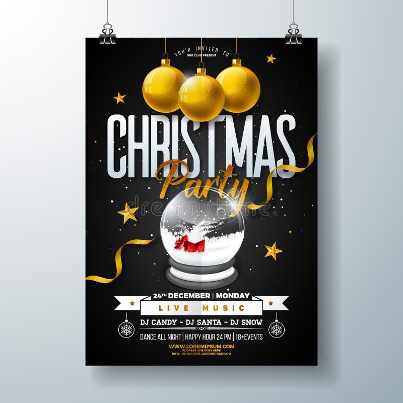Il Buon Natale fa festa la progettazione dell'aletta di filatoio con le palle dell'iscrizione di tipografia di festa, del globo d illustrazione di stock
