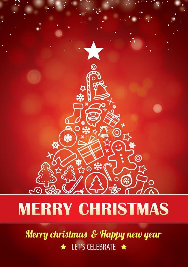 Il Buon Natale fa festa per progettazione dell'opuscolo dell'aletta di filatoio su backgroun rosso royalty illustrazione gratis