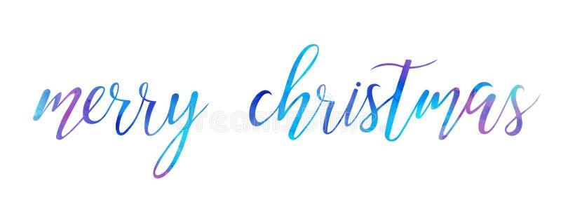 Il Buon Natale luminoso dell'acquerello di vettore spazzola il testo dell'iscrizione su fondo bianco illustrazione di stock