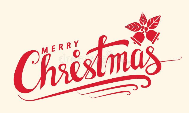 Il Buon Natale manda un sms a, modello della carta di progettazione di iscrizione, Handwritin royalty illustrazione gratis