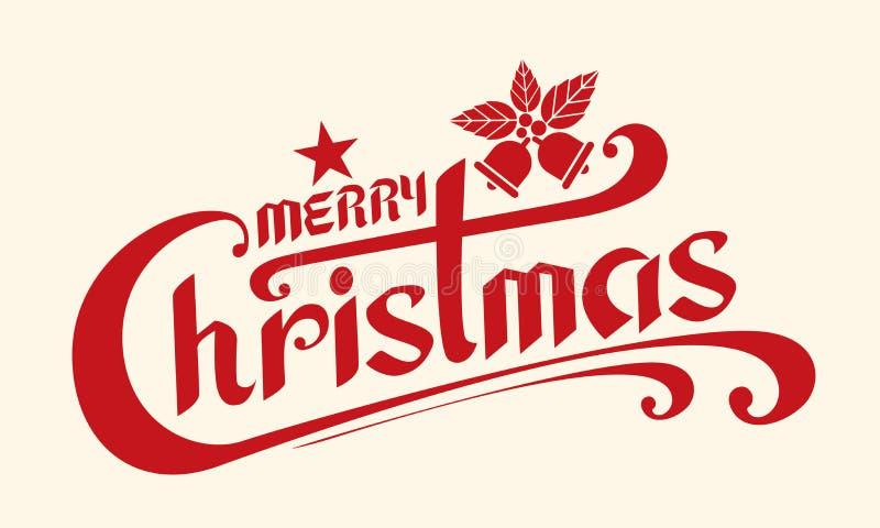 Il Buon Natale manda un sms a, modello della carta di progettazione di iscrizione, Handwritin illustrazione vettoriale