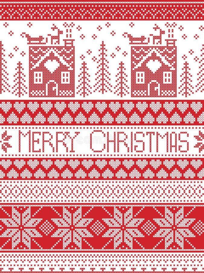 Il Buon Natale modella con la casa di pan di zenzero, albero di Natale, cuore, renna, slitta, illustrazione vettoriale