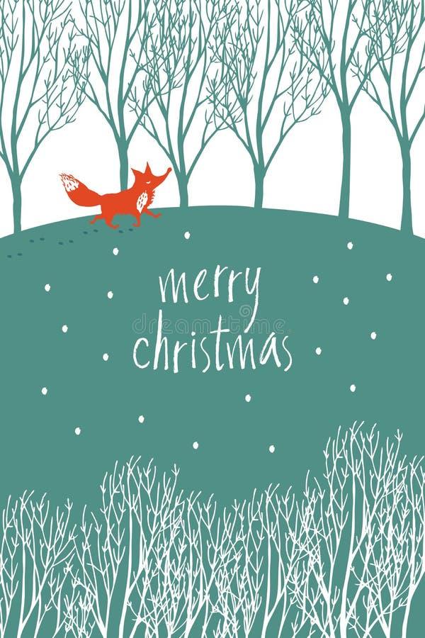 Il Buon Natale progetta la carta con la volpe rossa in una foresta dell'inverno illustrazione di stock
