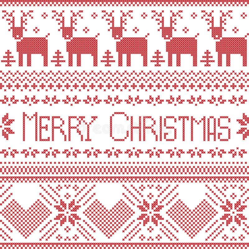 Il Buon Natale scandinavo firma ispirato dal modello nordico in punto trasversale con la renna, il fiocco di neve, l'albero, le s illustrazione di stock