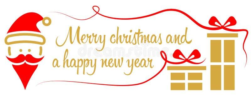 Il Buon Natale vector dorato rosso illustrazione di stock