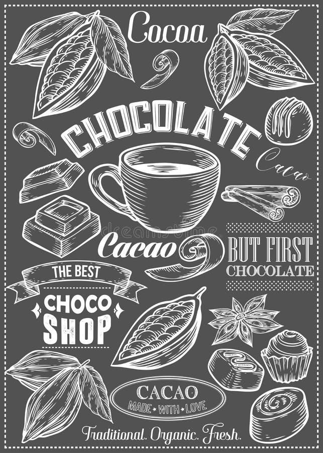 Il cacao, cacao, insieme di vettore del cioccolato del dessert aromatizza il logos, le etichette, i distintivi e gli elementi di  royalty illustrazione gratis