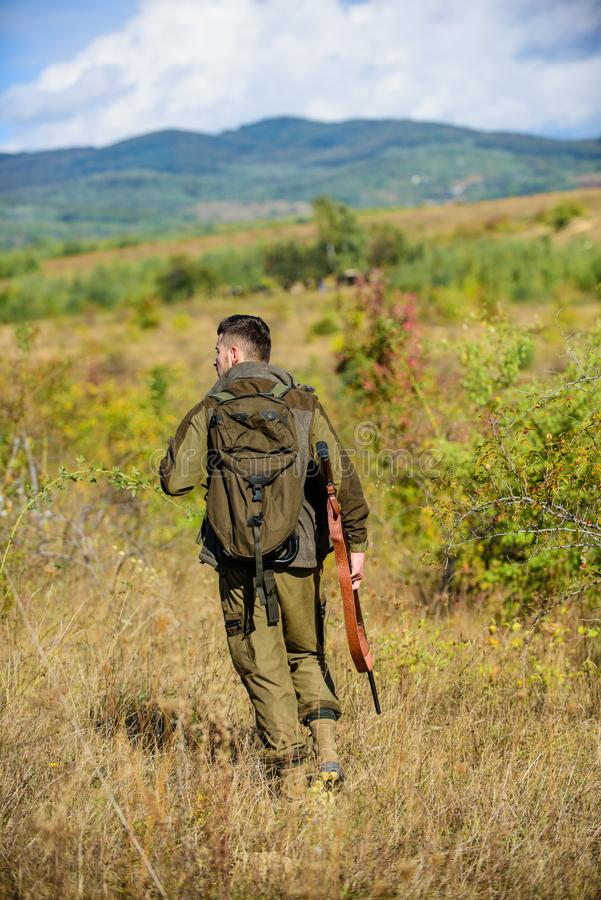 Il cacciatore dell'uomo porta il fondo della natura del fucile L'esperienza e la pratica presta la caccia di successo Stagione di fotografie stock libere da diritti