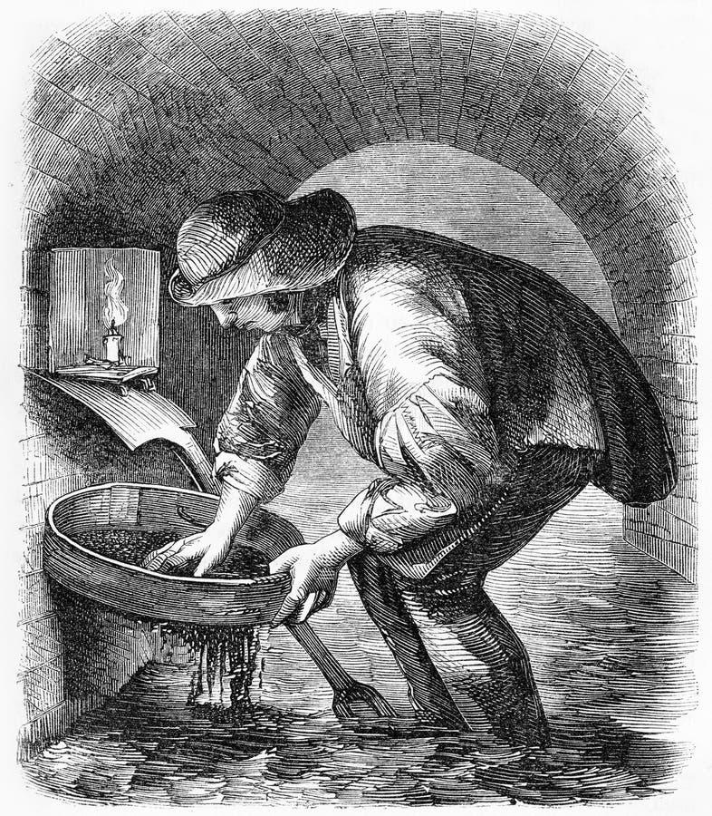 il cacciatore della fogna durante l'era vittoriana royalty illustrazione gratis