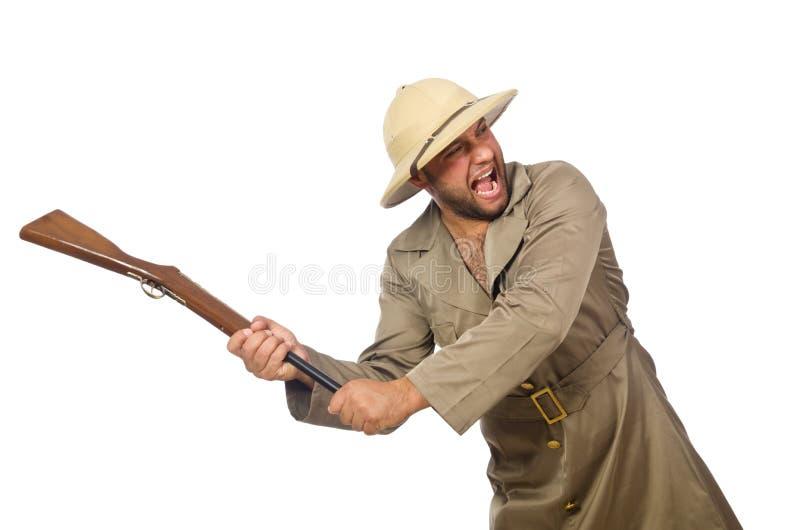 Il cacciatore di safari isolato su bianco fotografie stock