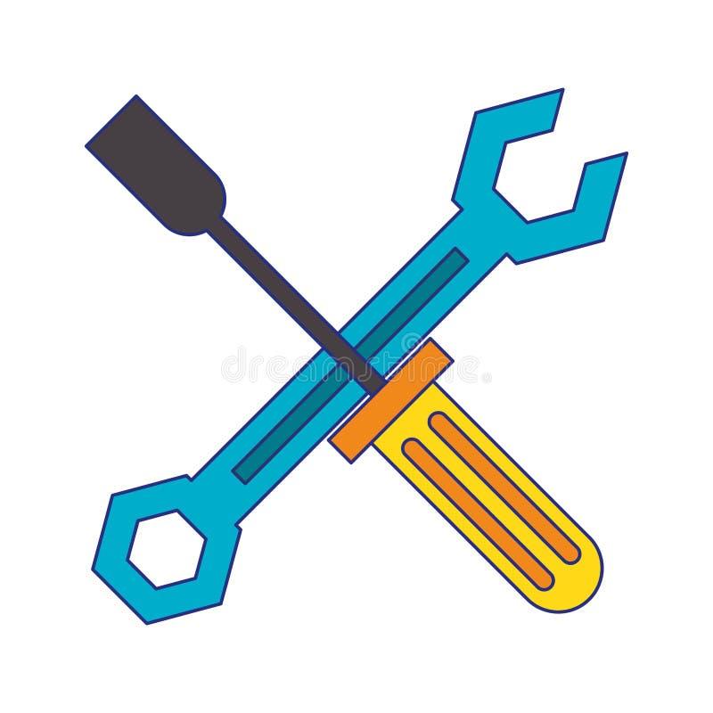 Il cacciavite e la chiave hanno attraversato le linee blu di simbolo illustrazione di stock