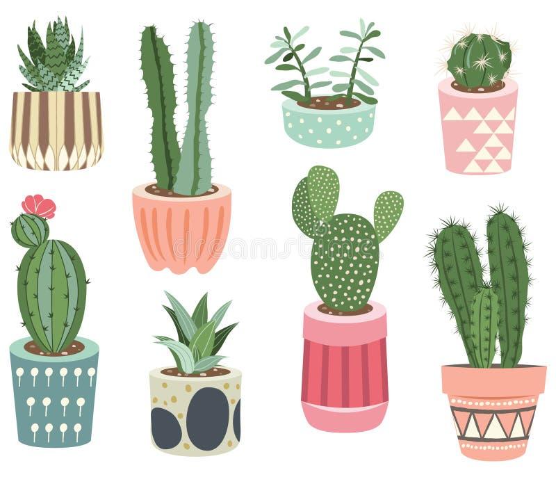 Il cactus pianta le collezioni royalty illustrazione gratis