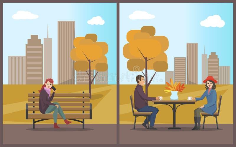 Il caffè con la Tabella ed i clienti coppia il vettore stabilito royalty illustrazione gratis