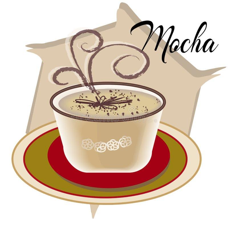 Il caffè della moca inoltre ha chiamato Caffe con il piattino di legno sulla tavola bianca Negozio interno Gli ingredienti princi royalty illustrazione gratis