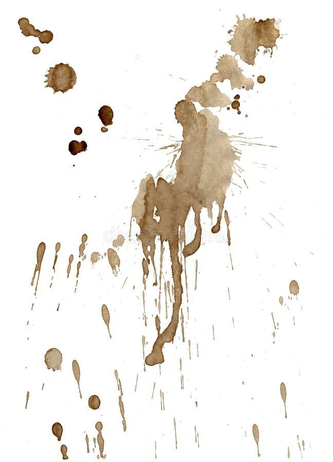 Il caffè di Brown macchia e schizza isolato su bianco illustrazione vettoriale