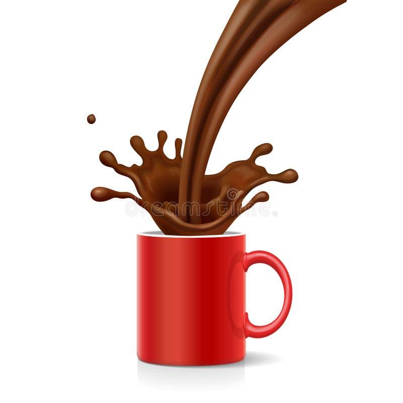Il caffè sta spruzzando in tazza rossa Il cappuccino è versato nella tazza illustrazione vettoriale