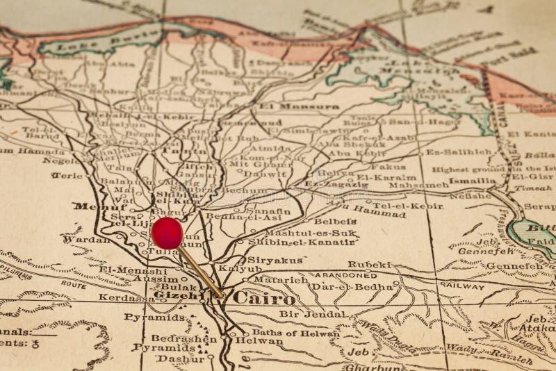 Il Cairo e l'Egitto sulla mappa d'annata fotografia stock libera da diritti
