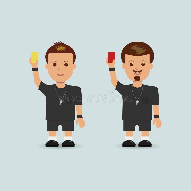 Il calcio arbitra tenendo il rosso ed il cartellino giallo illustrazione vettoriale