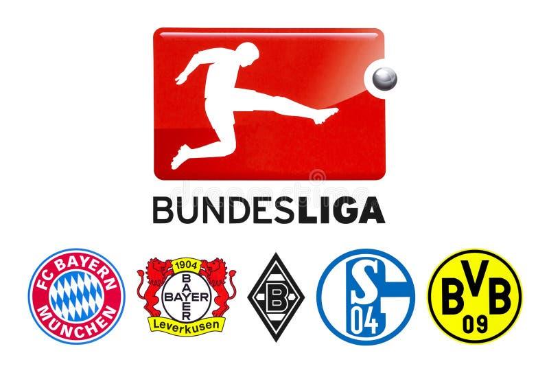 Il calcio di Bundesliga bastona il logo illustrazione vettoriale