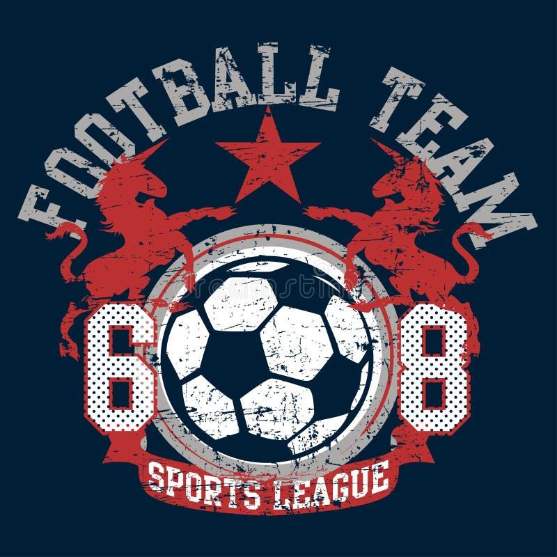 Il calcio di calcio mette in mostra il gruppo della lega con gli unicorni illustrazione di stock