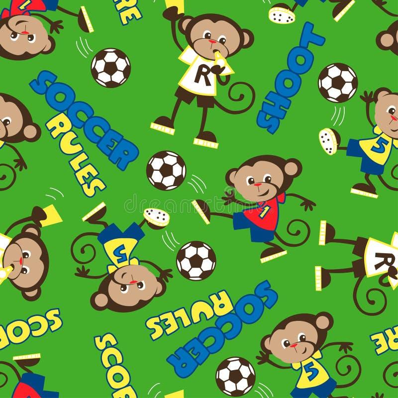 Il calcio governa il modello senza cuciture della scimmia illustrazione di stock