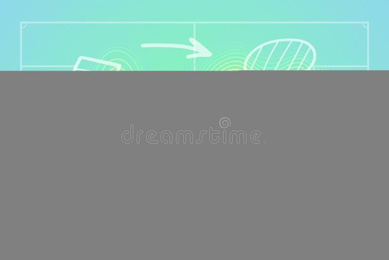 Il calcio o il campo di calcio con lo schema tattico di tiraggio della mano ed il calore lineare traccia royalty illustrazione gratis