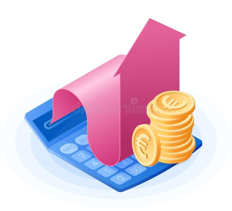Il calcolatore di per la matematica, grafico crescente della freccia, pila di monete degli euro royalty illustrazione gratis