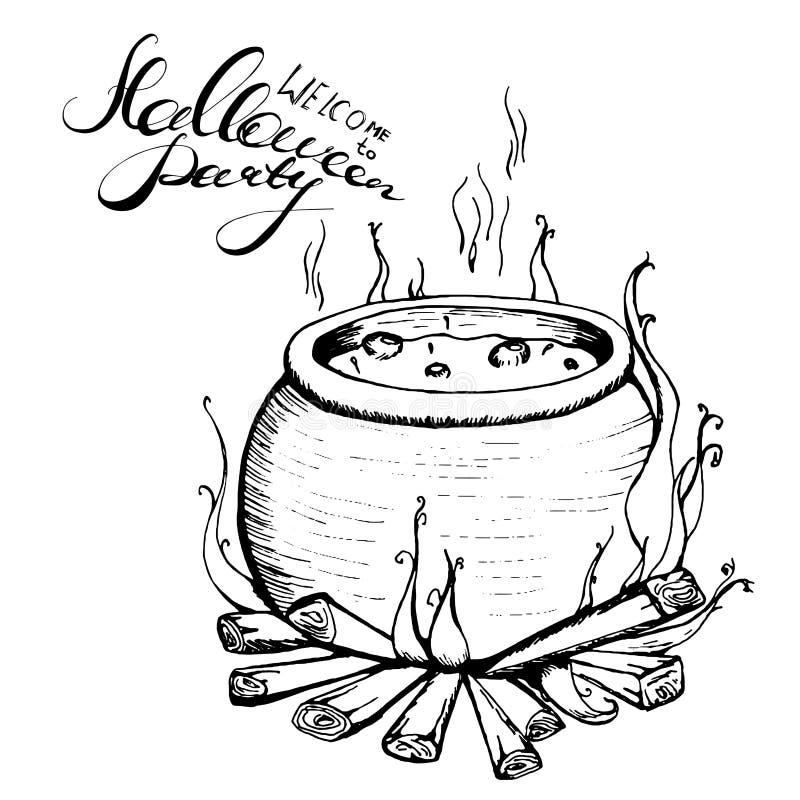 Il calderone del ` s della strega sta sul palo Benvenuto all'iscrizione del partito di Halloween schizzi disegnati a mano, elemen illustrazione di stock