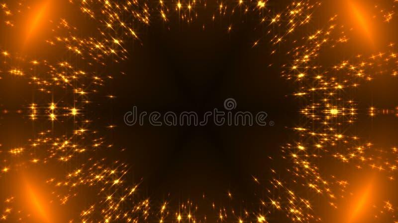 Il caleidoscopio radiale dell'oro con brillare stars sul nero, molte particelle, contesto celebratorio della rappresentazione 3d illustrazione di stock