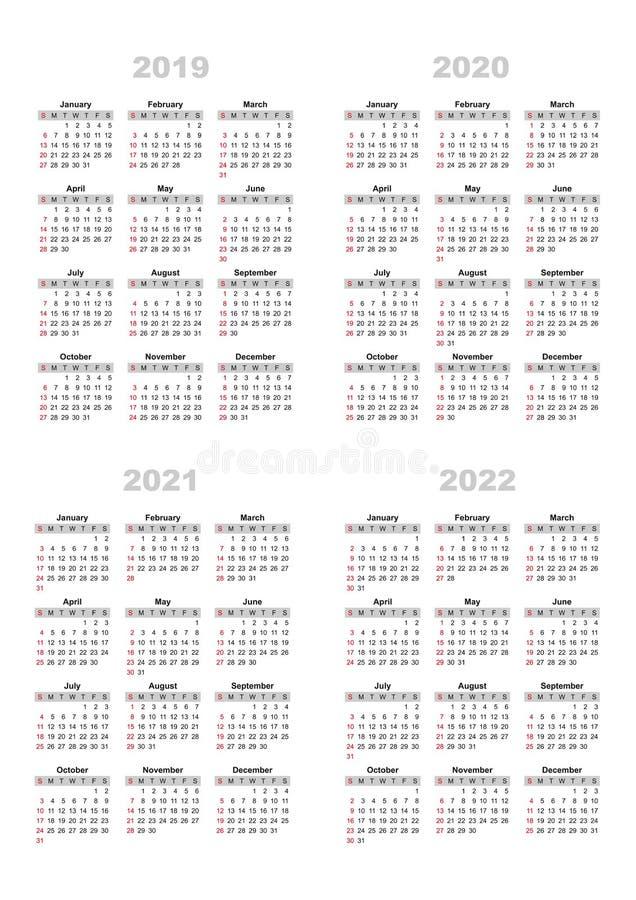 Il calendario 2019,2020,2021,2022 fotografia stock