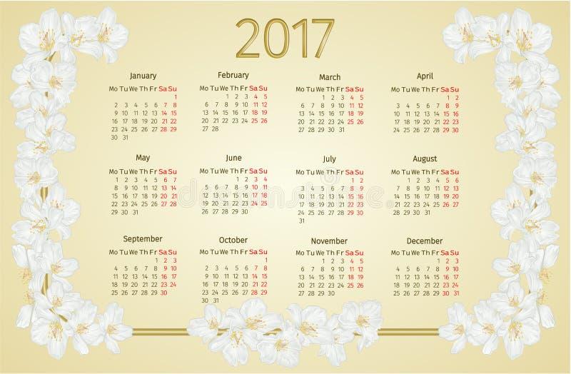 Il calendario 2017 con il gelsomino fiorisce il vettore d'annata illustrazione vettoriale