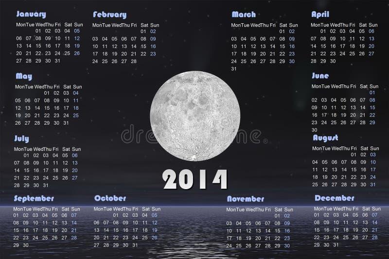 il calendario 2014 con le comete e la luna piena -3D rendono illustrazione di stock